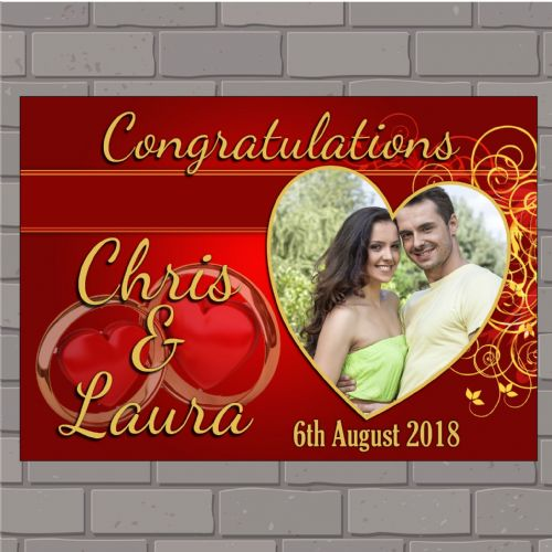 Personalised Congratulations Wedding Engagement Anniversary Party PHOTO Poster Banner N150 Red & Gold Swirls